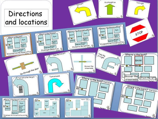 Directions and locations in a school PPT and activity