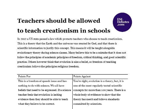 Debate Lesson Plan - Teachers should be allowed to teach creationism in schools