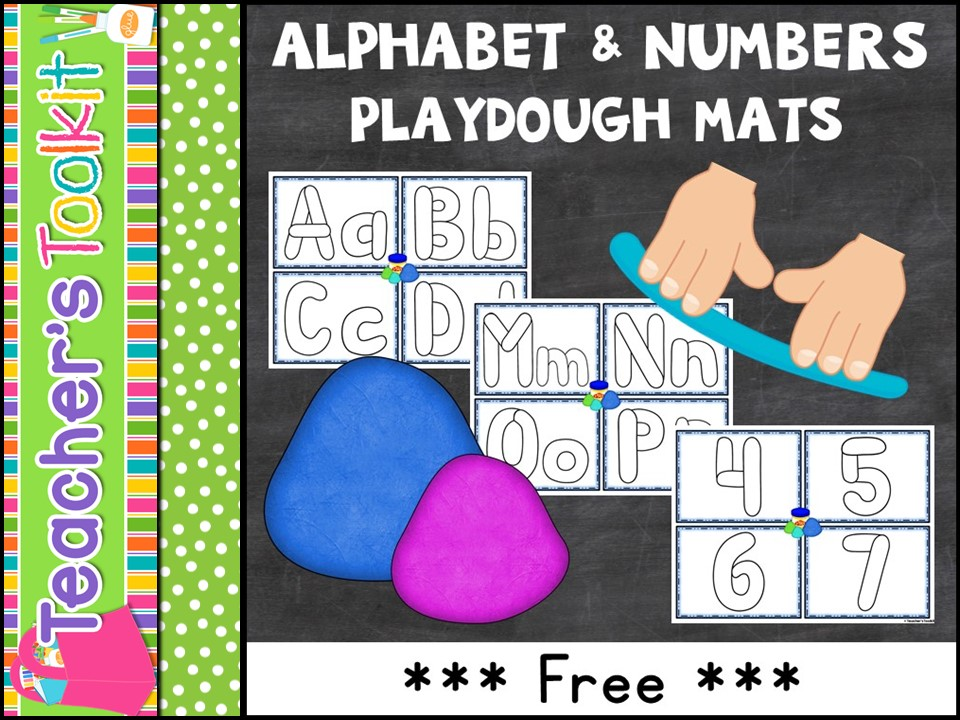 {Freebie} Playdough Mats: Alphabet and Numbers