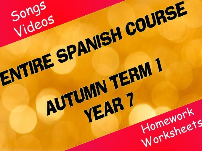 Spanish Year 7 - Autumn Term 1 - Entire Half-term's worth of work!