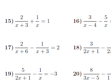 Equations with algebraic fractions worksheet (with solutions)