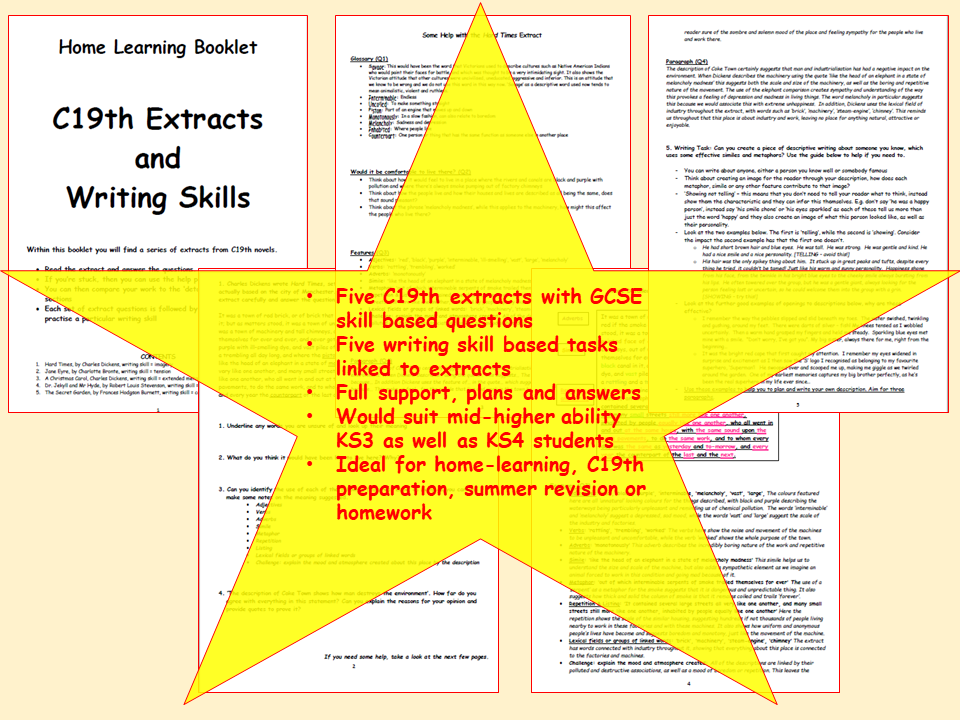 KS3 Home Learning Pack - C19th Extracts & Linked Writing Tasks