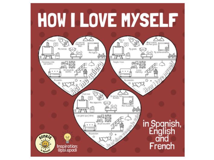 Así me quiero: worksheet to promote self-love & review key vocabulary. French, Spanish & English