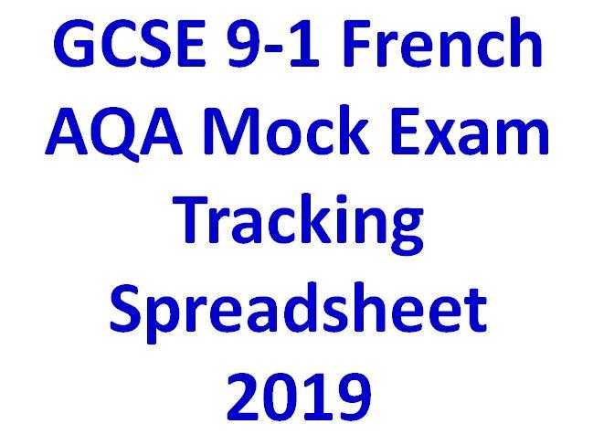 GCSE 9-1 French AQA Mock Exam Tracking Spreadsheet  2019