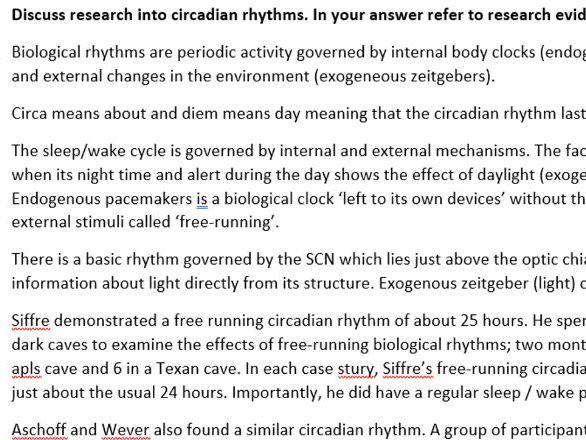 Biological rhythms (BIOPSYCHOLOGY / AQA Psychology)