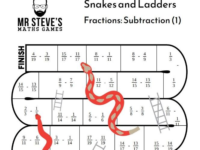 Subtract Fractions Game Snakes and Ladders Subtraction Year 6 Year 7 Year 8 ACMNA153 ACMNA126