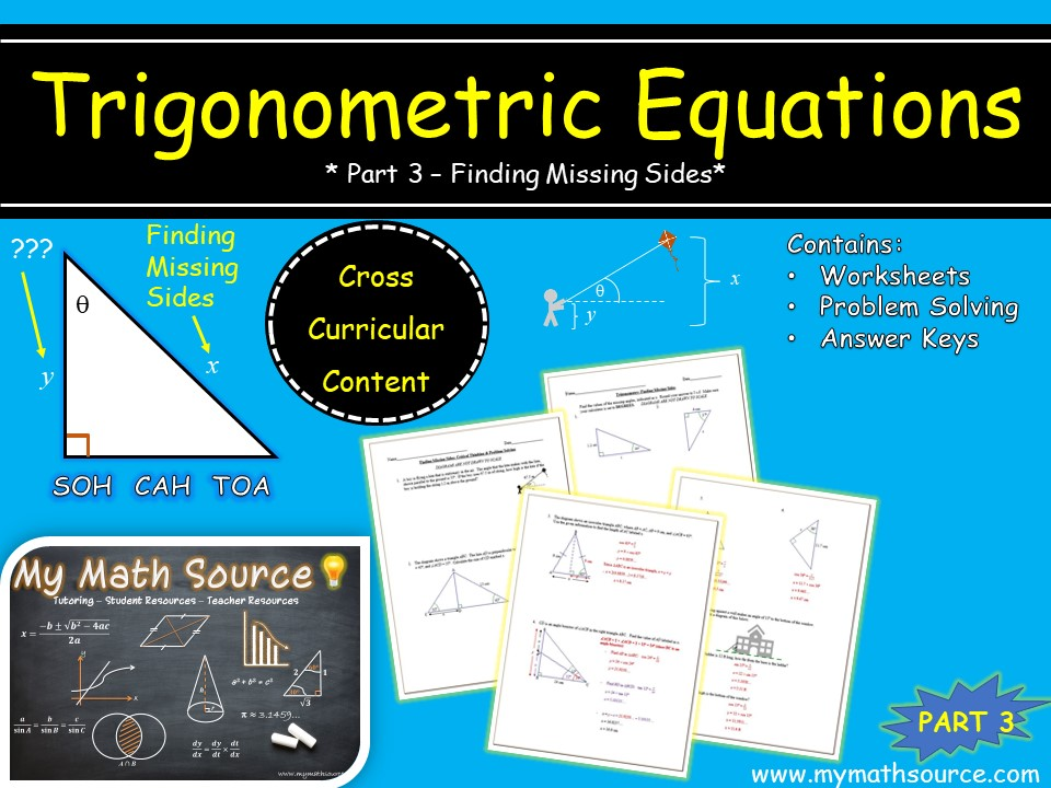 Trigonometric Equations: Part 3 - Finding Missing Sides of a Right Triangle