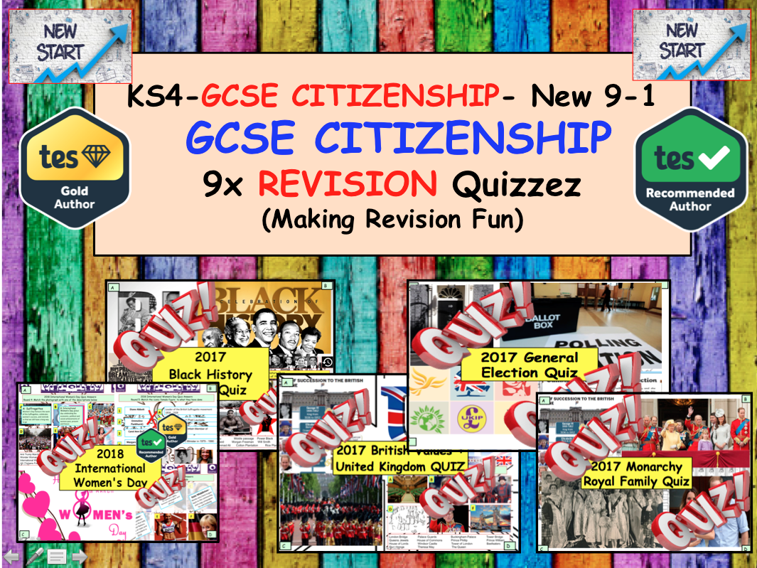 9x GCSE CITIZENSHIP 9-1 Educational Revision Quizzes. Politics Law Brexit Elections Campaigns