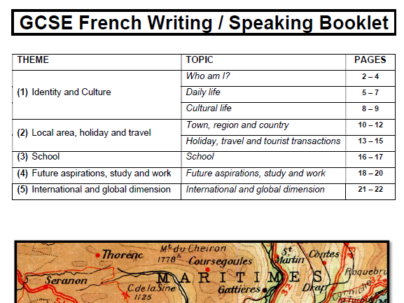 GCSE French Writing & Speaking Booklet + model answers (EDEXCEL)