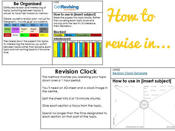 How to revise in [insert subject] guidance sheet