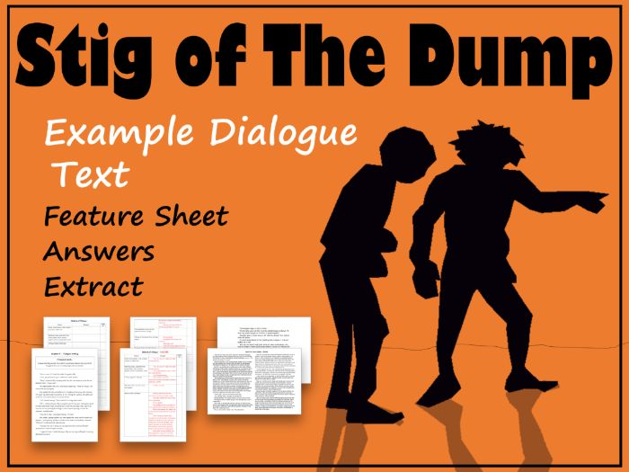 Stig of the Dump Dialogue Writing Example with Feature Identification, Answers & Extract