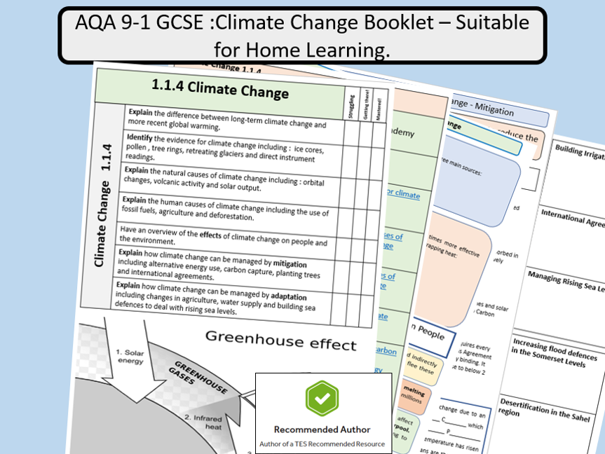AQA Climate Change Revision Booklet - Suitable for Remote Learning.