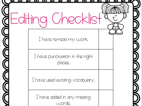 KS1 editing checklists