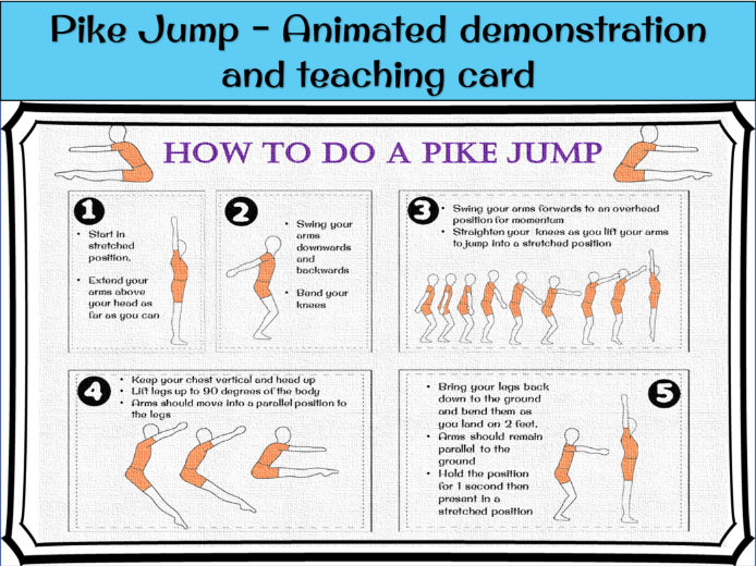 Gymnastics Jumps - Pike (teaching task card and animated example)
