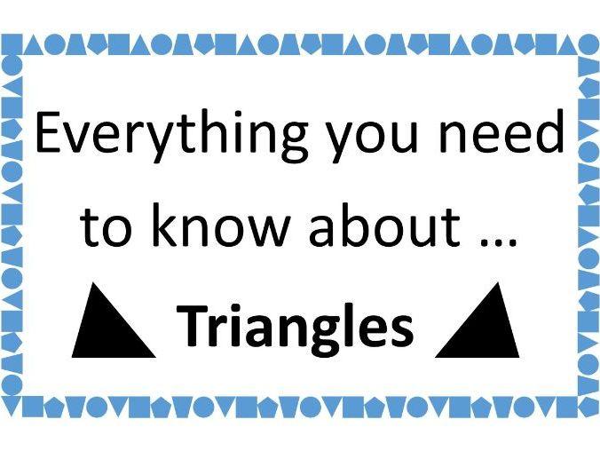Guide to Everything About Triangles, inc. Angles, Area, Trigonometry, Pythagoras, Sine Rule, Cosine
