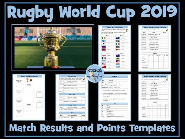Rugby World Cup 2019 Results Templates | Teaching Resources