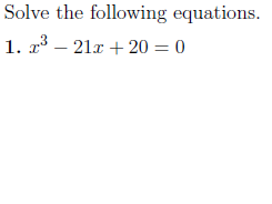 Solving cubic equations worksheet no 2 (with solutions)
