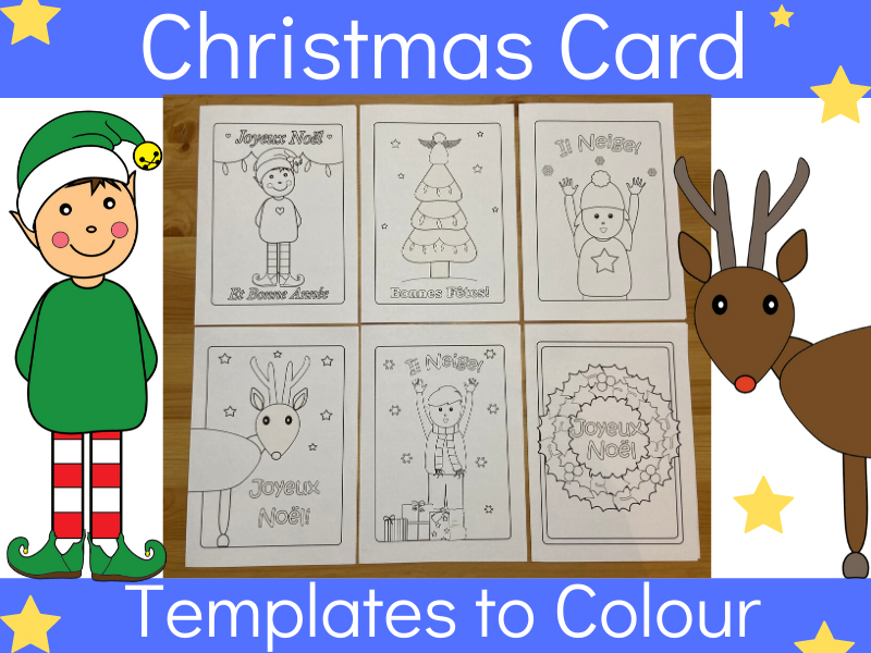 French Christmas cards to print and colour