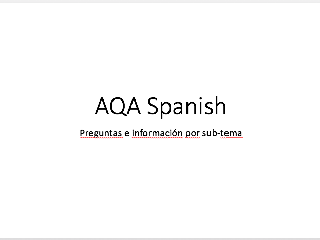 NEW AQA Spanish A Level questions and information per sub-theme