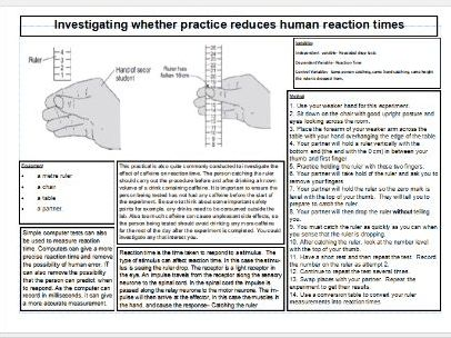 Reaction times Required Practical Knowledge Organiser