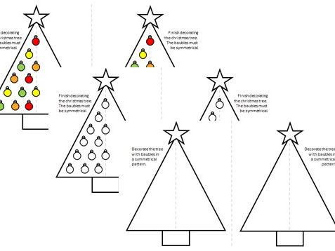 Symmetry Christmas Tree Activity - Year 2 Maths