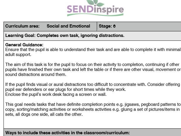 SEND Social and Emotional: Pupil completes own task ignoring distractions