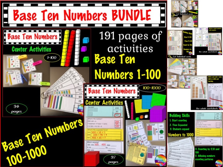 Base Ten Activities BUNDLE Kinder, Grade 1 and Grade 2 Printable Maths Centres