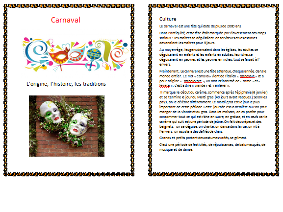 Carnaval-Worksheet in french text