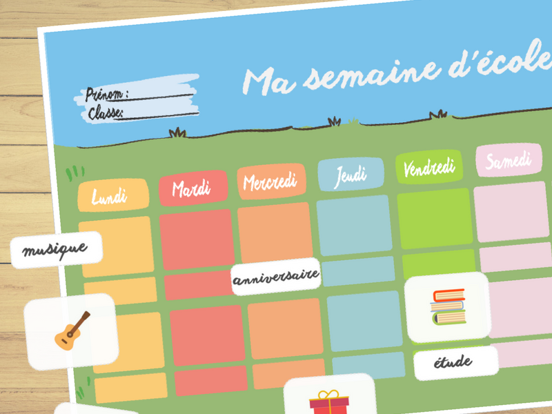 French School Weekly Planner⎜Printable Planner⎜Printable Worksheet ⎜Learning French
