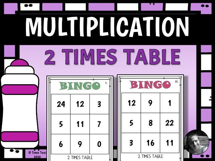 2 Times Table Multiplication and Division Bingo