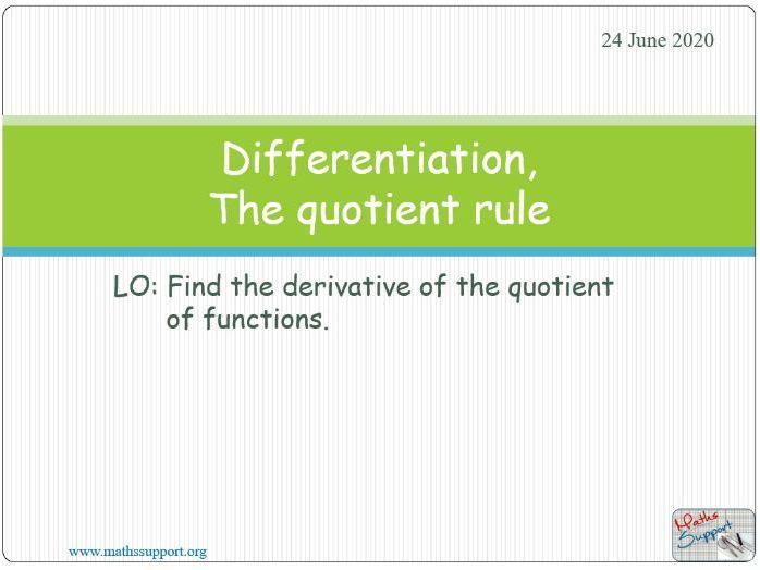 Differentiation, Quotient rule