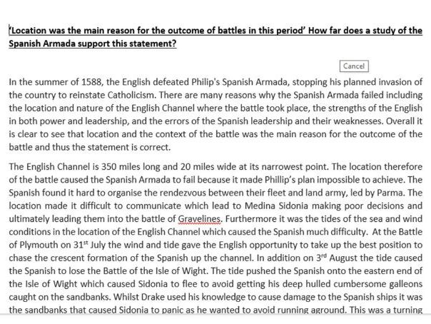 AQA 8145 Spanish Armada Model essay- Location is main factor
