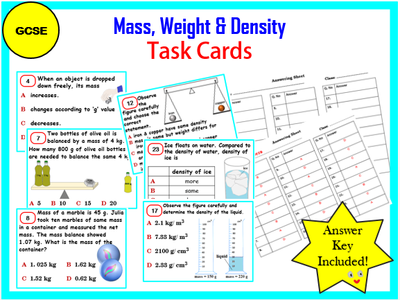 Mass, Weight & Density- Task cards - GCSE Physics