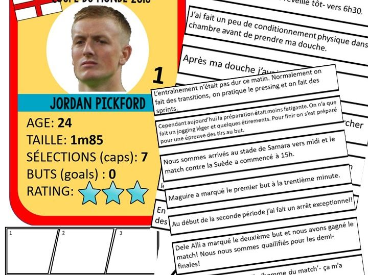 World Cup 2018 French Activity Jordan Pickford Daily Routine Past Tense reading and writing