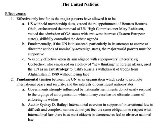 [A Level/GCSE History] United Nations COMPREHENSIVE NOTES
