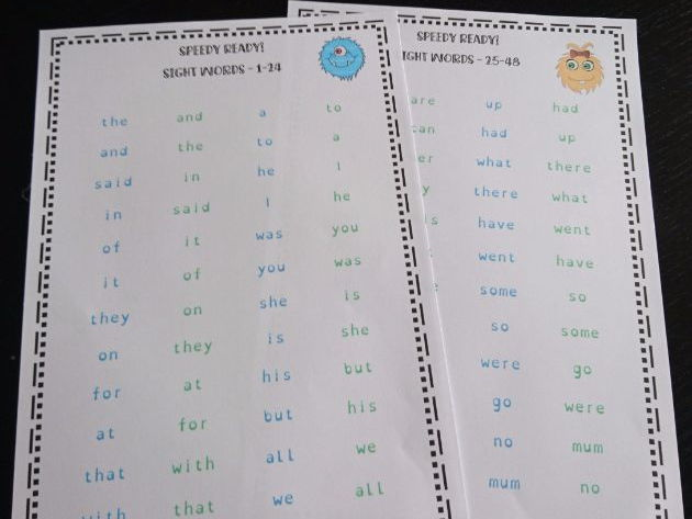 First 100 High Frequency Sight Word Fluency Practice