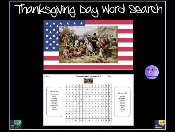 Thanksgiving Day Word Search