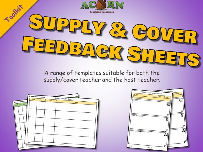 Supply & cover teacher - feedback sheets