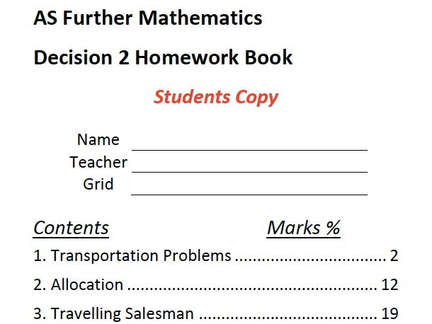 A Level Maths Decision 2 Homework Booklet