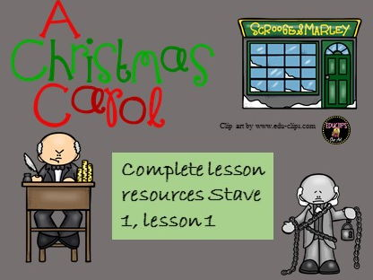 Complete resources for lesson 1 A Christmas Carol , Stave 1, GCSE AQA English Literature, 9-1