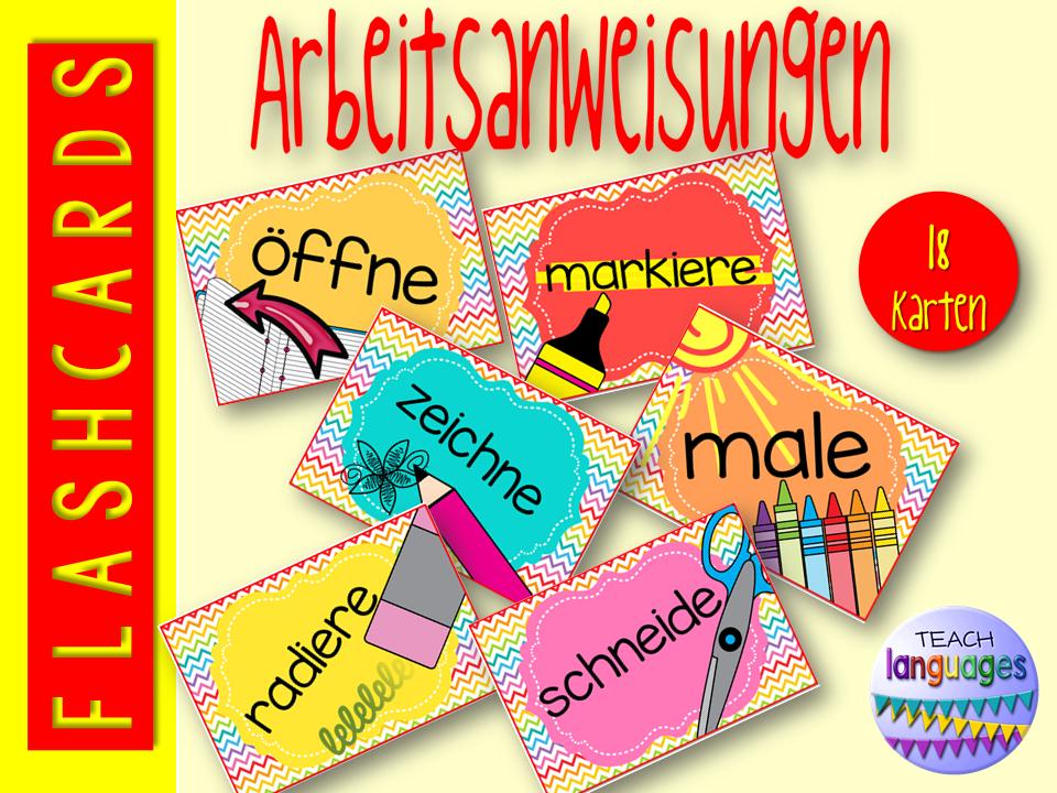 German- Arbeitsanweisungen visuelle Karten/Poster