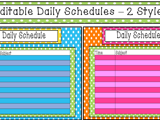 Colorful Daily Schedule