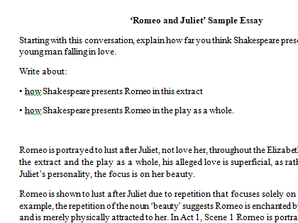 Romeo and Juliet Love Essay and Question