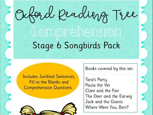 ORT - Oxford Reading Tree Stage 6 Songbirds Comprehension Pack