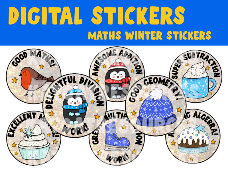 Cute Winter Maths Digital Stickers For See Saw and Google Classroom 2