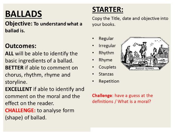 an introduction to ballads poetry by maryliz teaching resources