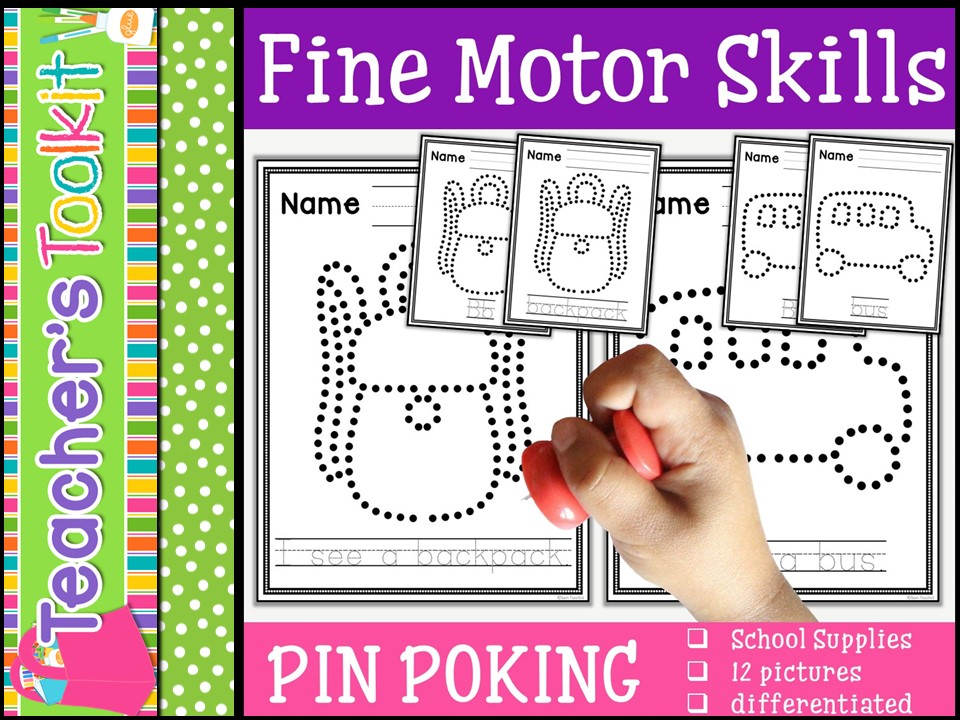 Motor Skills: Pin Poking Back to School