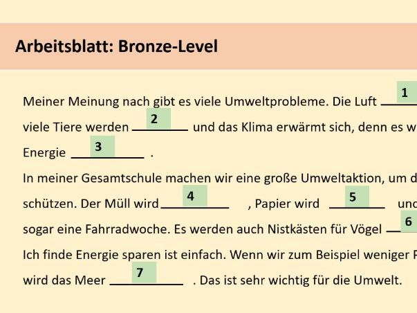 Introduction of the passive voice with topic of environment GERMAN