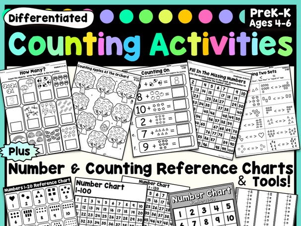 Counting Activities & Number Charts - Worksheets, Printables, Posters & Reference Tools