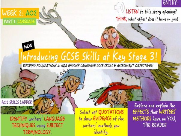Building Foundations at Key Stage 3 in NEW English GCSE Skills and AO's . FULL UNIT (AO2 LANGUAGE)